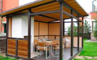 Беседка с односкатной крышей на даче