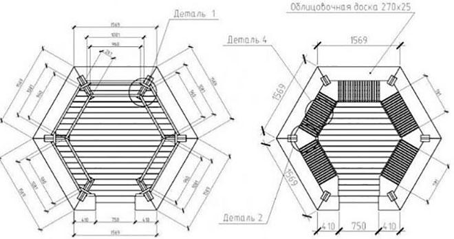 Схема шестигранной крыши финской беседки