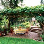Беседка навес, с крышей из дикого винограда