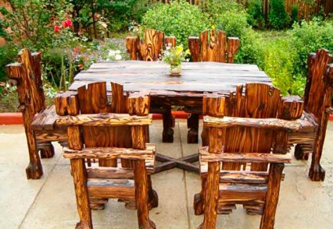деревянная мебель из брёвен