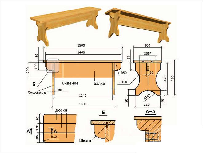 Схема простой скамейки без спинки