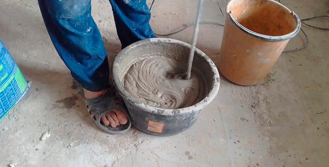 Процесс приготовления цементного раствора