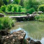 Большой искусственный пруд с разным уровнем воды