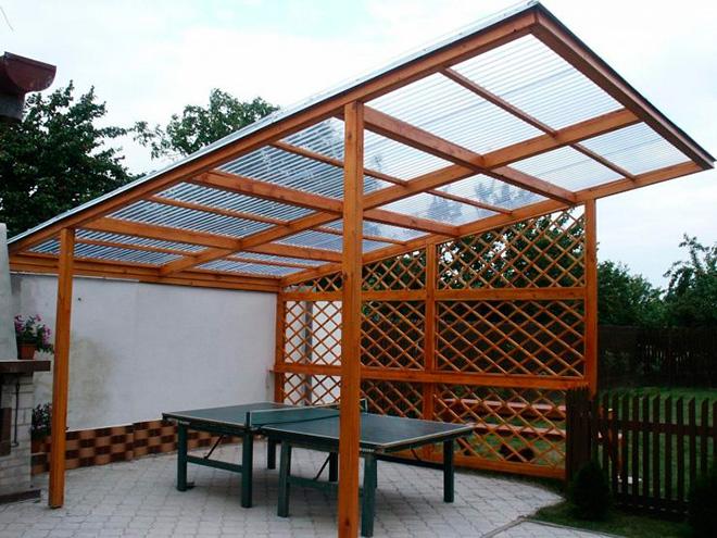 Односкатная крыша из поликарбоната