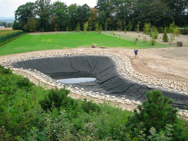 Строительство пруда из плёнки